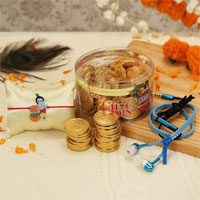 Earphone In Case With Buds,Gold Coins Chocolate Bal Krishna Kids Rakhi
