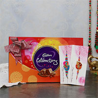 Two Zari Rakhi Set with Cadbury Celebrations Box