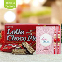 sending this exquisite hamper of Lotto Choco Pie 168gm, two rakhis along with complementary roli chawal.