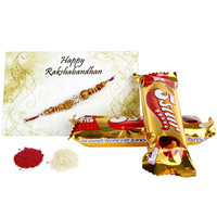 Rakhi along with the sweetness of 5pcs Cadbury 5 Star Chocolates 24gm each and Roli Chawal for Tikka