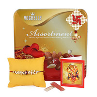 Voghelle Assortment Tin Pack, filled with Assorted Chocolates of 180 grams, Rakhi Roli Chawal.