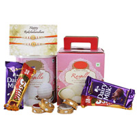 Rasgulla Pack of One kilograms, Two Cadbury Dairy Milk Chocolates of 17 grams each, Two Five Star Chocolates of 24 grams each, Two Designer Rakhis