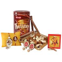 Almonds 100gm & Cashews 100 grams, 2  Designer Rakhi , Tin Box of Delfi Twister Wafer Rolls 320 gm