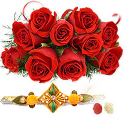 12 red roses bunch Rakhi with RoliChawal.