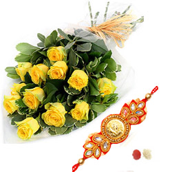 A Beautiful Hand tied Bunch of 12 Yellow Roses Rakhi with RoliChawal.