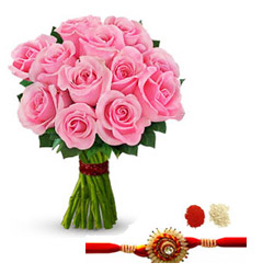 Send a Bunch of 12 Long Stemed Pink Roses Rakhi with RoliChawal.