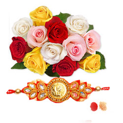 Bright 12 multi coloured roses in a bunch is all about unending happiness Rakhi with RoliChawal.