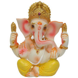 This is a beautiful Ganesha idol made of stone dust and decorated nicely. <br> height 6-8 inch approx.