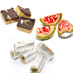 1 kg different kinds of sweets, kaju roll and water-melon sweets, Chocolate Barfi -