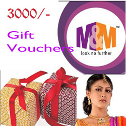 M&M gift vouchers are the perfect gift for any occasion. Voucher Value: 3000/-