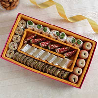 Rudraksh Rakhis With Box of 1 Kg Mixed kaju sweets