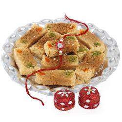 Milk Cake made in desi ghee in 1/2kg   and Red Designer Rakhi Roli Chawal.