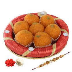 Motichoor Ladoo of 250 grams and Rakhi with Roli Chawal.