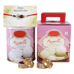 Rasgulla in one kilograms  warm wishes to your brother on this Rakhi.