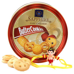 One Sapphire Gold Collection Tin Box of Butter Cookies 340gm, One BalGaneshaRakhi with Free RoliChawal.