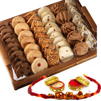 A collection of freshly baked, soft, sweet and tasty cookies in a smart pack..RAKHI WITH COOKIES 500 gms