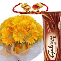 12 yellow gerbers bunch 2 galaxy chocolate with  free rakhi