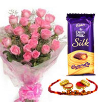 12 pink roses bunch  Diary Milk Silk Medium Bar. chocolate with  free rakhi