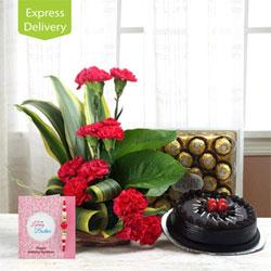 12 Red Carnation Basket 1kg Round Truffle Cake  Ferrero Rocher Chocolate 24 pcs.Free Rakhi Roli Chawal