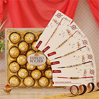 Elegant Set of 5 Rakhis with 24 PC Ferrero Rocher