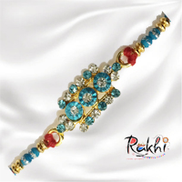 Beautiful Rakhi, decorated with faux pearls, stones and designer rakhi<br>