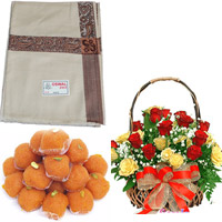 Make your dear one moments even more memorable by gifting this beautiful shawl  + 24 Red&yellow  roses basket 1/2kg Motichur Laddu