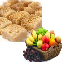 A delicious assortment of seasonal fruits arranged in a beautiful basket. (Net Weight - 4 Kgs). 1kg Ajmeri Kalakan