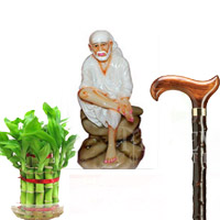 Saibaba Idol (POP Material) - Height : 5 inches (Approx.) Good Luck Bamboo plant. Send this two layer good luck bamboo plant  Walking Stick-1