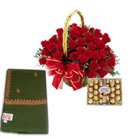 A Basket of 50 Red Roses and a Pack of 24 Ferrero Rocher Chocolate Green Color Shawl with small work border.