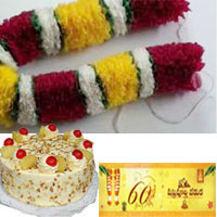 1kg butter scotch cake + Greet your dear one with this huge Chrysanthem Flowers Ghaza Mala