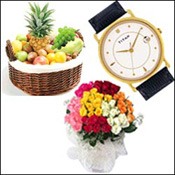 58 mixed color roses of flower bunch + Titan - Karishma 519YL27+Premium Fruit basket