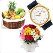58 mixed color roses of flower bunch + Titan - Karishma 519YL27+Premium Fruit basket