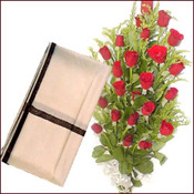 Plain ivory colored woolen shawl with 20  Red Roses basket.