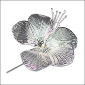 This flower is particularly sacred to ganapati as well as Mahakali. Of all the flowers that may be offered to ganesha the hibiscus is considered as the best. This elegant silver form of the sacred flower makes a unique and personal gift to homes where ganapati is being worshipped. Height: 7 cms (2.7''),  Width: 5 cms (2'') 30grams.  Delivery in 4 - 5 working days.