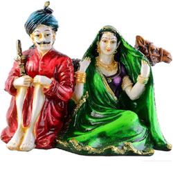 JaipurCrafts Beautiful Rajasthani Couple With Camel Showpiece - 15 cm  (Polyresin, Multicolor) <br>lead time 2 working days