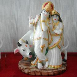 Radha Krishna Cow Gift Statue Idol Showpiece  <br>lead time 2 working days