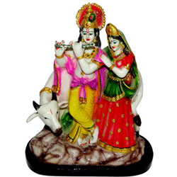 Radha Krishna Cow Gift Statue Idol Showpiece