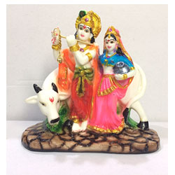 Beautiful Radha Krishna With Kamdhenu Cow Showpiece (7 Inch X 4.5 Inch,)<br>