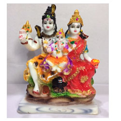Lord Shiva Family Parvati Ganesh Idol God Statue(H-9 CM))