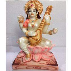 Saraswati Goddess idol religious hindu God showpiece (H-10 CM))<br> Material:- Polyresin Color:- multi colour<br> delivery lead time : 2 working days