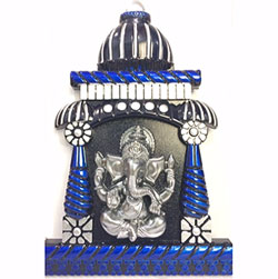 Ganesh Mandir wall frame  height : 12 inch, widht :8 inch <br> Material:- Plastic <br> Color:- blue, black and silver <br> delivery time : 2 working days