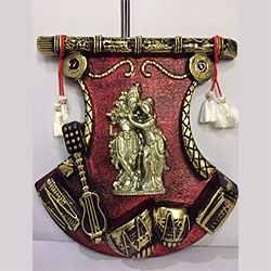 Radha Krishna wall frame with musical instruments  (height : 12 inch , widht :8inch  <br> Material:- Plastic <br> Color:- antique and red<br> delivery time : 2 working days