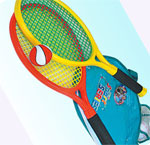 This contains 2rackets & 2balls. The net of the racket is flexible in nature and gives a good bounce to the ball when struck with it.