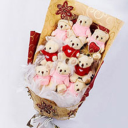Bouquet of 9 Teddies (6 inches each)