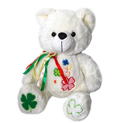 This is a white color beautiful teddy bear. Multi-colored colored flowers are embroidered on its body to give it a charming colorful look. Tri- colored ribbons of green, red and white are tied on its neck. You can gift this awesome teddy bear to your loved ones.<br> Height : 13 Inch