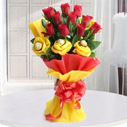 Bouquet of Ferrero Rocher Chocolates - 3 pcs. & Red Roses - 10
