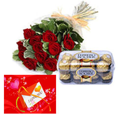 Bunch of 12 Red Roses & 16 Pcs Ferrero Rocher Love card
