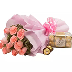 bunch of 12 pink roses along with the world famous Ferrero Rocher chocolates.