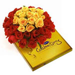 A chocolates combination of a bunch of 12 red roses with a small cadbury celebration pack!