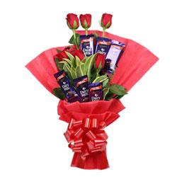 6 Cadbury Dairy Milk Chocolate 12.5gm 6 Red Roses Red Paper Packaging Red Ribbon Seasonal Leaves